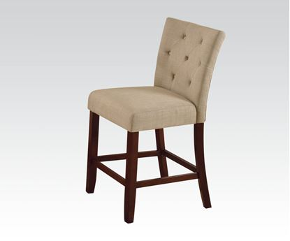 Picture of Walnut and Cream Linen 2 Pcs. Dining Side Chair    (Set of 2)