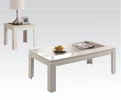Picture of Modern 3 Pieces White Coffee Table Set