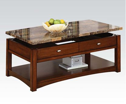 Picture of Jas Cherry Coffee Table with Faux Marble Lift Top