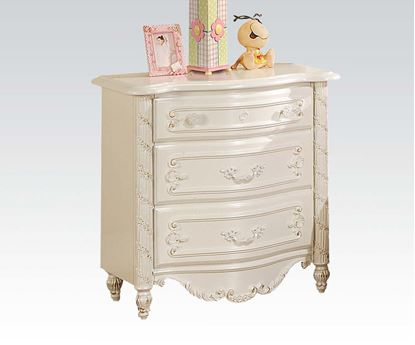 Picture of Pearl White Finish Wood Night Stand w/ 3 Drawers