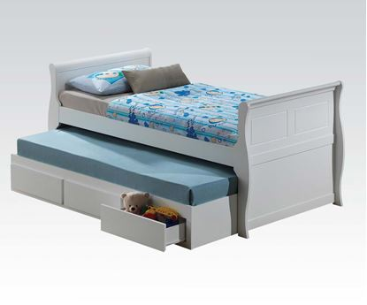 Picture of Nebo White Wave Shaped Full Captain Bed with 3 Drawer Trundle