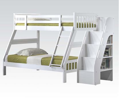 Picture of Gareth White Twin Full Bunk Bed with Bookcase Ladder