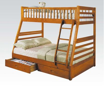 Picture of Jason Oak Twin/Full Bunk Bed with Drawers