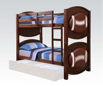 Picture of All Star Youth Football Twin over Twin Bunk Bed in Espresso Finish
