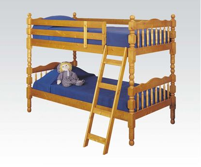 Picture of Homestead Honey Oak Finish Twin over Twin Bunk Bed
