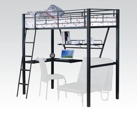 Picture of Modern Silver Black Twin Loft Bed with Desk