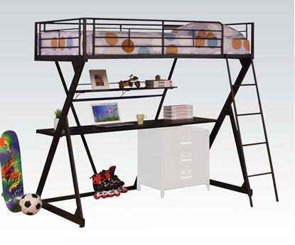 Picture of Twin Loft Bed In Sandy Black Finish