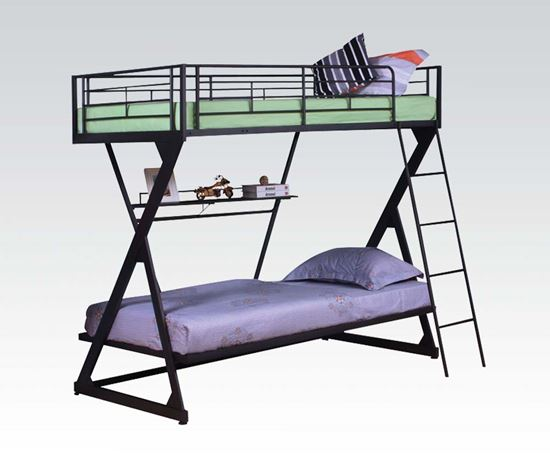 Picture of Modern Sandy Black Twin Full Bunk Bed with Bookshelf