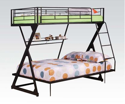 Picture of Zazie Sandy Black Finish Twin/Full Bunk Bed W/Bookshelf
