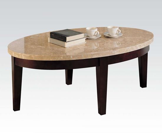 Britney Oval White Marble Top Coffee Table
