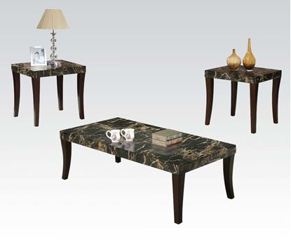 Picture of Coffee Table Set With Black Faux Marble Top