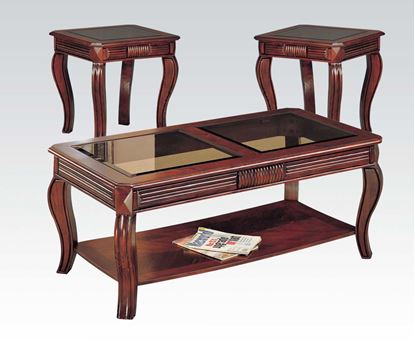 Picture of 3 PC Square Center Glass Top Cherry Coffee End Table Set  06150