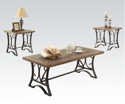Picture of Modern 3 Pieces Oak Black Coffee Table Set
