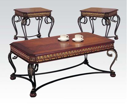 Picture of Carmel Cherry 3 PCs. Coffee and End Table Set