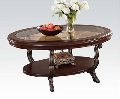 Picture of Bavol Cherry Oval Shaped Coffee Table with Glass Insert