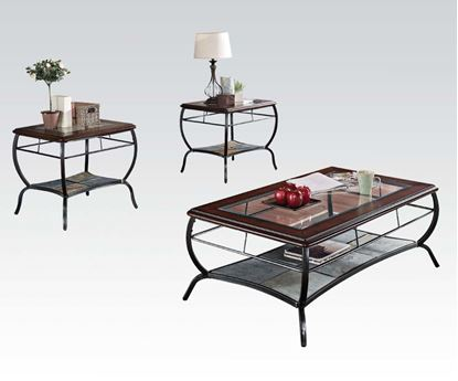 Picture of Nansen Cherry Finish and Slate Insert 3PC Coffee/End Table Set