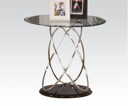Picture of Chrome & Black Finish Glass Top End Table