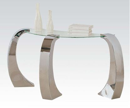 Picture of Metro Chrome Sofa Table with Glass Table Top