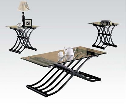 Picture of 3PC Glass Coffee and End Table Set w/ Wave Base Design