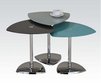Picture of Gray & Turquise Glass Top Nesting Table Set