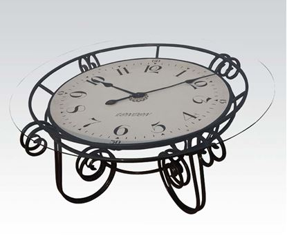 Picture of Modern Black Round Glass Top Coffee Table Clock
