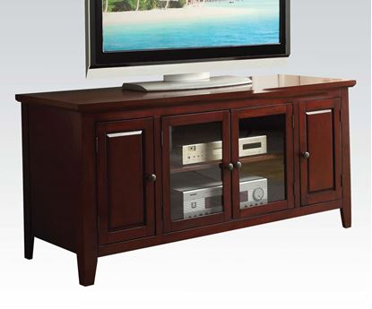 Picture of Christella Contemporary Cherry TV Stand w/ Glass Front Cabinet