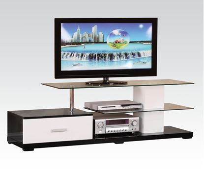 Picture of Modern White Black Glass Top TV Stand