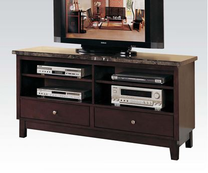 Picture of Britney Black Marble Top TV Stand Entertainment Console with 2 Drawers