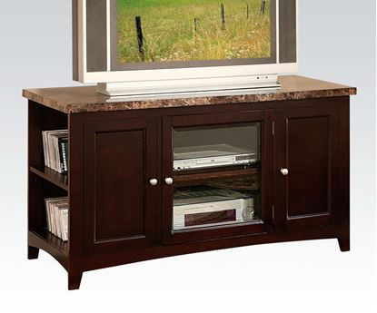 Picture of Finely Espresso TV Stand with Faux Marble Top