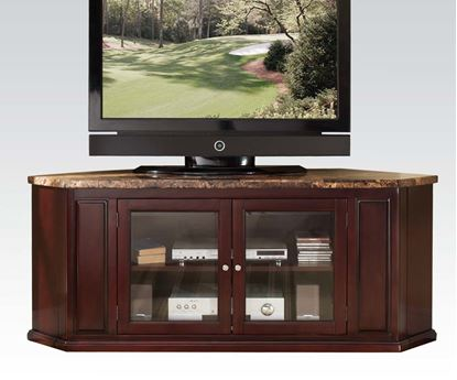 Picture of Nevin Corner Unit Espresso Wood w/ Faux Brown Marble Top TV Stand