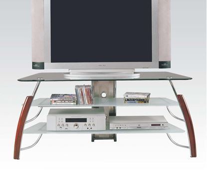 Picture of Transitional Glass Top TV Stand with Brown Leg