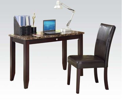 Picture of Sean 2pc Faux Marble Top Espresso Desk and Chair