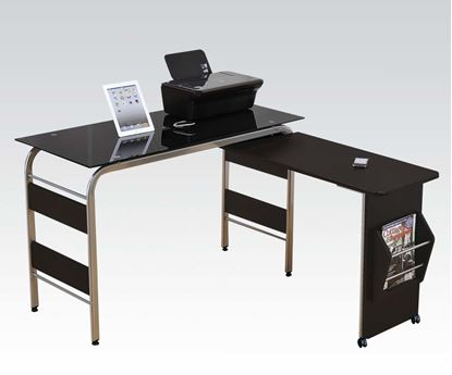 Picture of Garion Computer Desk in Black Tempered Glass Finish