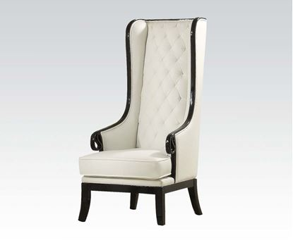 Picture of Black Frame Accent Chair (White Pu)