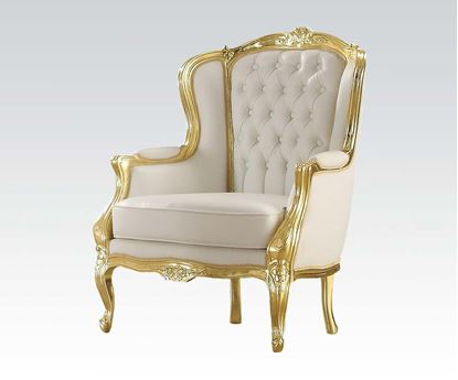 Picture of Gold Frame/White Pu Accent Chair