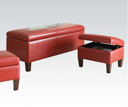 Picture of Ibrahim Red Leather Like Storage Bench & Ottomans