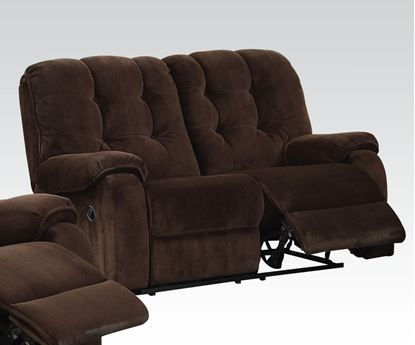 Picture of Nailah Motion Loveseat in Chocolate Fabric