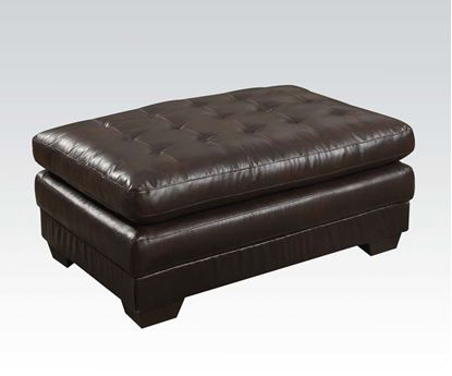 Picture of Nigel Dark Brown Bonded Leather Match Ottoman