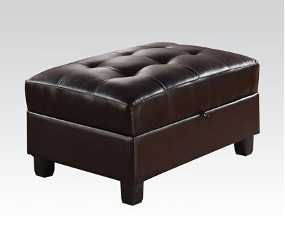 Picture of Kiva Espresso Bonded Leather Match Ottoman w/ Storage