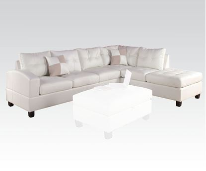 Picture of Kiva White Bonded Leather RF Sectional Sofa with 2 Pillows