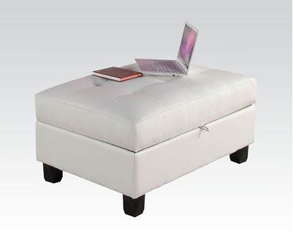 Picture of Kiva White Bonded Leather Ottoman