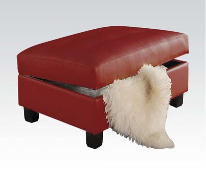 Picture of Kiva Red Bonded Leather Ottoman