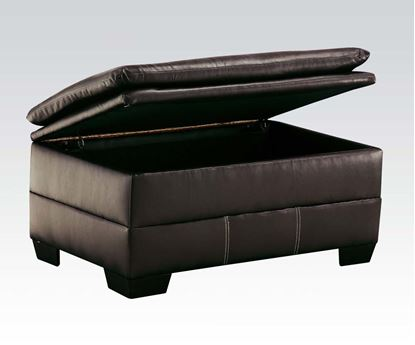 Picture of Contemporary Hayley Onyx  Bonded Leather Upholstered Ottoman