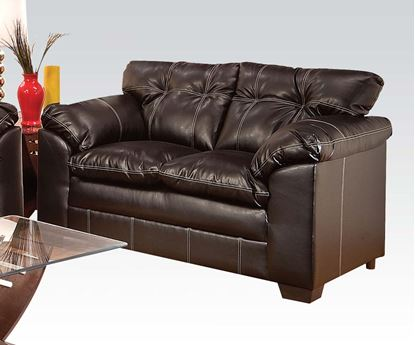 Picture of Contemporary Hayley Chocolate Bonded Leather Upholstered Loveseat