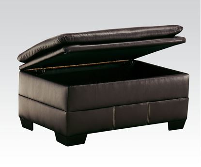 Picture of Contemporary Hayley Chocolate Bonded Leather Upholstered Ottoman