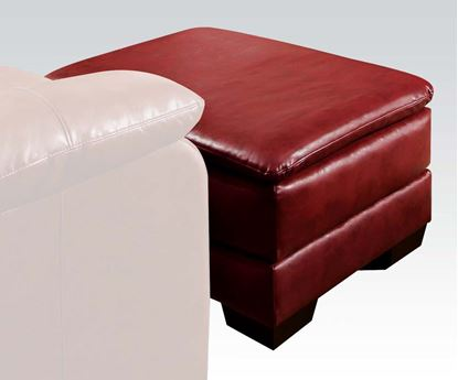 Picture of Contemporary Jeremy Padded Bonded Leather Red Ottoman