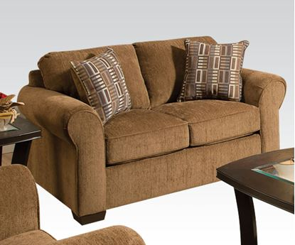 Picture of Modern Lola Walnut Fabric Loveseat