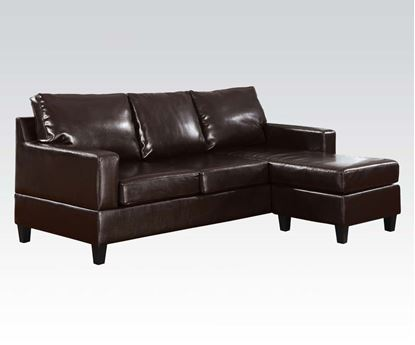 Picture of Espresso Bonded Leather Reversible Chaise Sectional