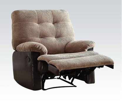 Picture of Layce 2 Tone Camel Morgan Fabric/ Leather Like Vinyl Motion Recliner