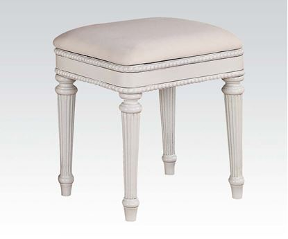 Picture of Classique White Finish Upholstered Computer Bench